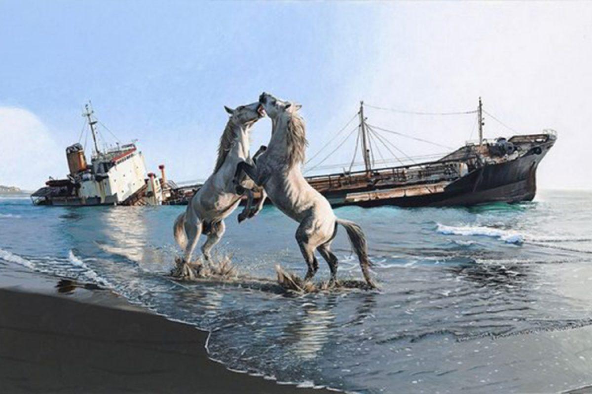 Josh Keyes 美国个展「Implosion」:写实的动物和风景画面与超自然的元素的融合